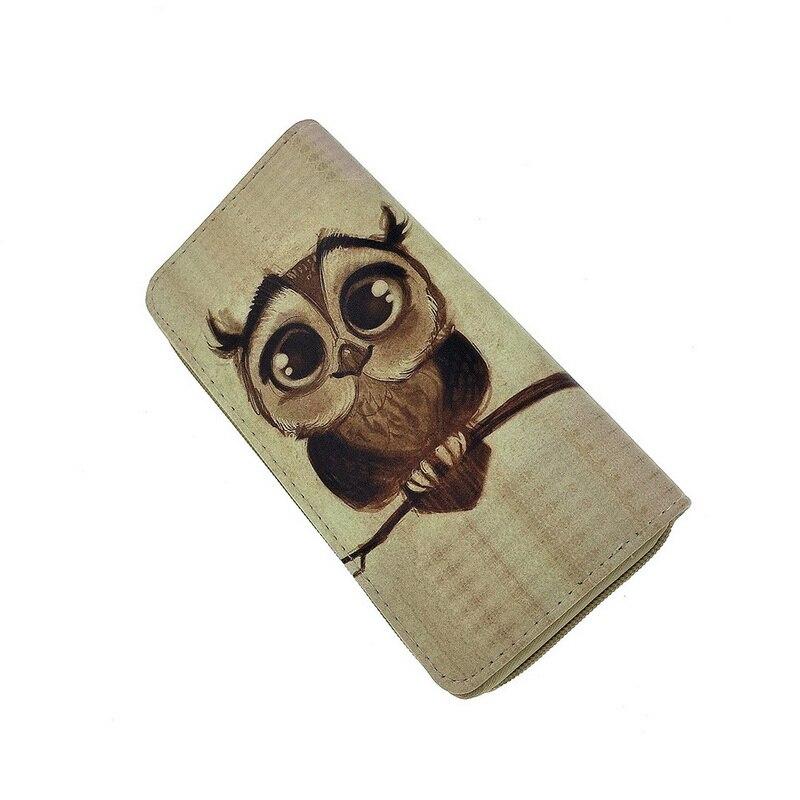 NIBESSER Womens Clutch Wallet Case Long Purse Print Cartoon Owl Long Zipper Purse For Girls Phone Bag Kawaii Card Holder