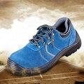 Alta calidad del tamaño grande de los hombres transpirable puntera de acero vestido trabajo de seguridad de verano zapatos de cuero genuino botines de zapatos de encaje proteger