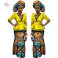 Vestidos para Las Mujeres africanas Media Manga Tops + Vestido Maxi Vestidos de fiesta Ropa Modas Ankara Africana Bazin Riche 6XL BRW WY1186