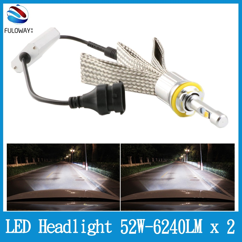 Fuloway Super Bright Car LED Headlights H11/H9/H8/H7/H4/H1/9005/9006 102W 12480LM CREE XHP50 Chips Headlamp Automobile 6000K 12V h