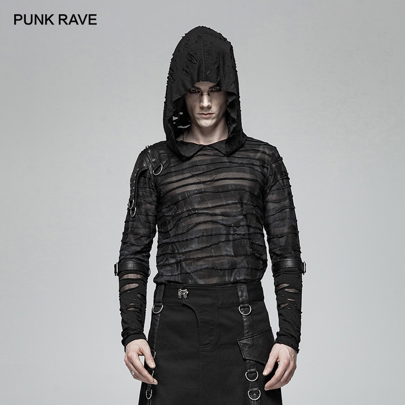 PUNK RAVE Black Gothic Steampunk Rock Printing Hoodie Transparent Men's T Shirt Punk Broken Hole Fashion Casual Tees t shirt-in T-Shirts from Men's Clothing    1