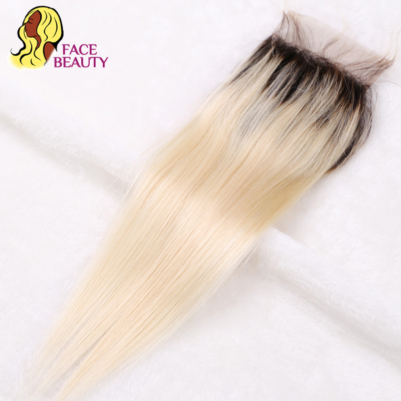 Facebeauty 1B/613 Ombre Blonde Lace Closure Dark Roots Peruvian Straight Remy Human Hair Closure Bleached Knot With Baby Hair