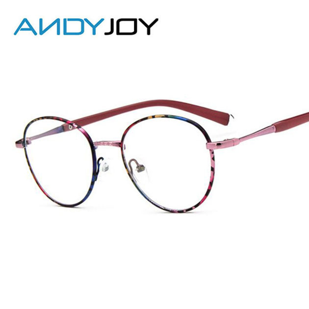 ANDYJOY New Style Women Vintage Metal Painted Frame Eyeglasses Round ...