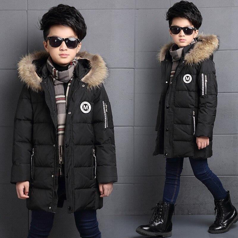 6-12Y Fashion Winter Down Jacket For Boy Fur Hooded Thicken Warmly Kids Winter Parkas Coat Children Outerwear