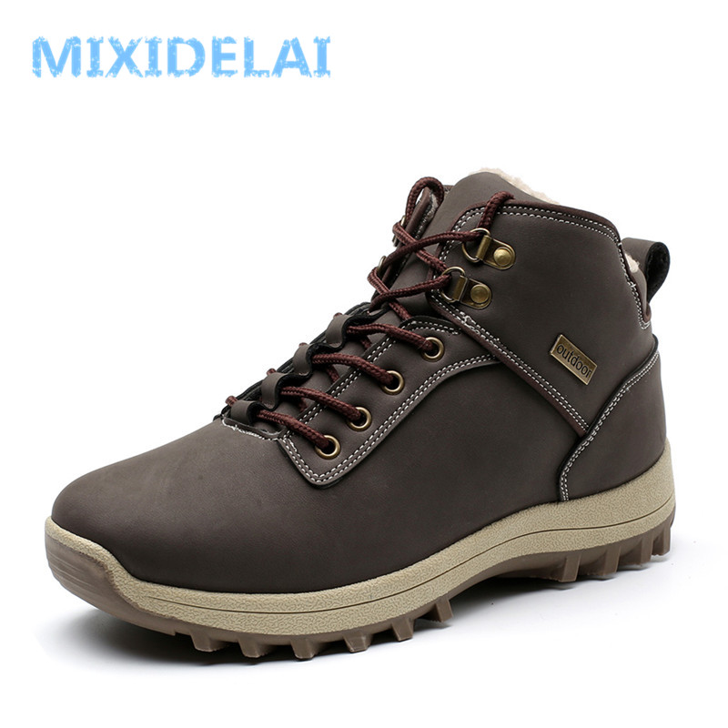 MIXIDELAI Super Warm Men Boots Winter Leather Boots Waterproof Rubber Snow Boots England Retro Ankle Boots For Men Winter Shoes