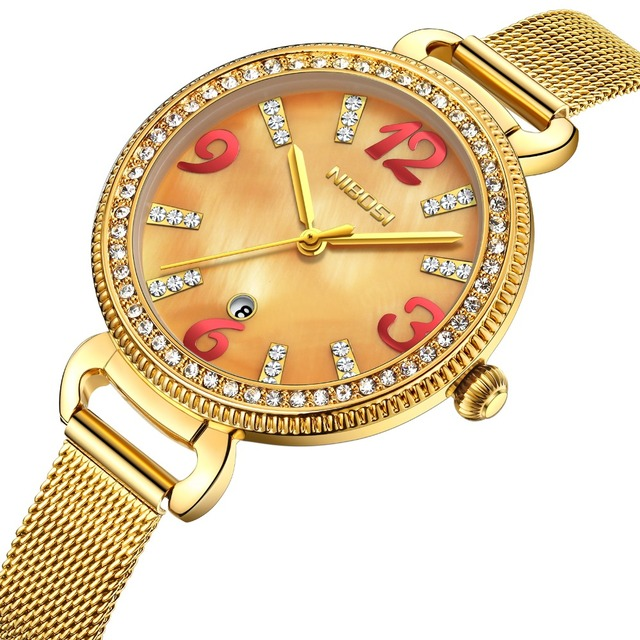 NIBOSI Women Watch Luxury Brand Fashion Casual Ladies Gold Watch Quartz Bling Bling Simple and Comfortable Design Clock Daily
