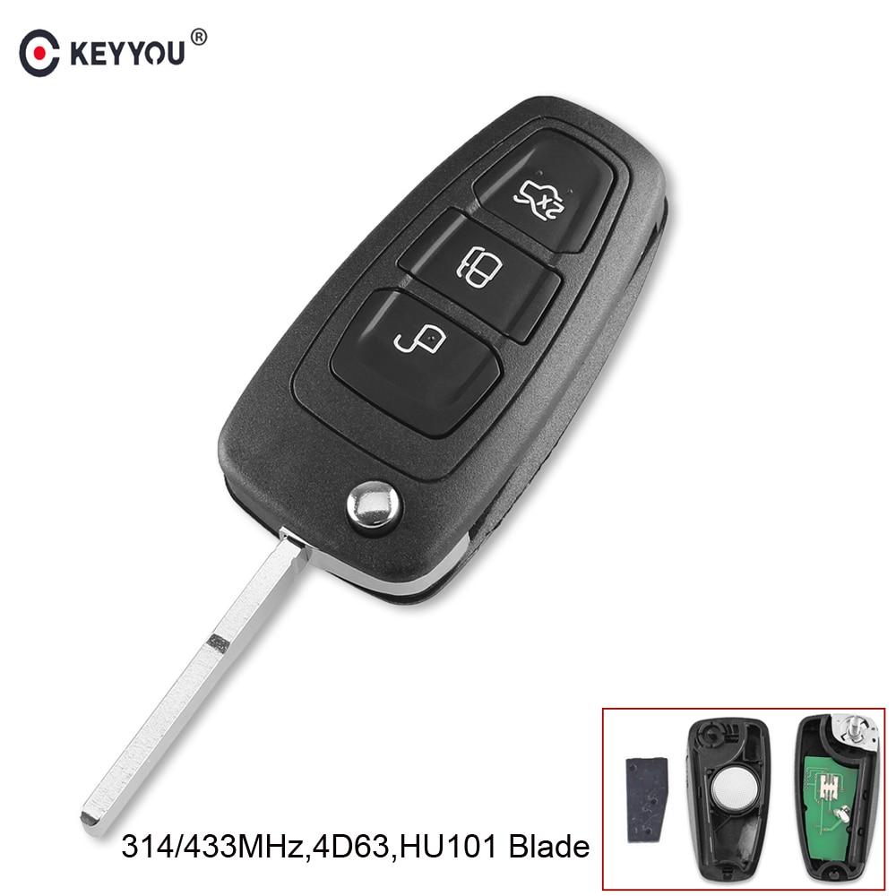 KEYYOU 3 Tasten Fob Geändert Flip Folding Remote-Car Key 315/433 MHz 4D63 Chip Für FORD Focus Fiesta mit HU101 Klinge FRAGEN