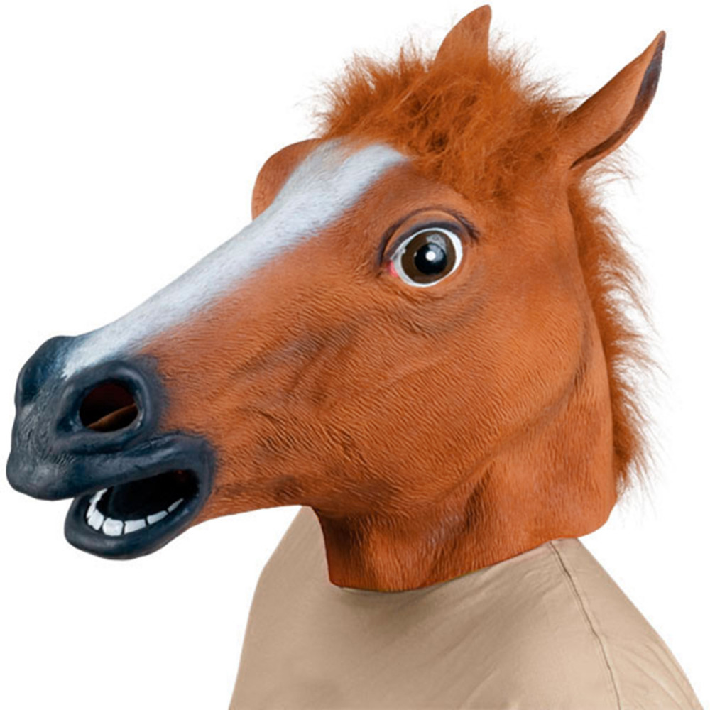 Animal Horse Head Mask Halloween Costume Party Theater Prop ...
