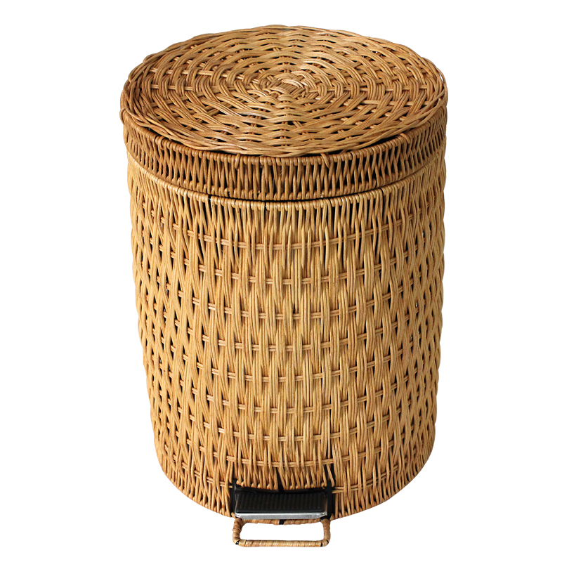 Rattan Large Bathroom Trash Can With A Lid Continental American Kitchen Living Bamboo Bins Creative On Aliexpress Alibaba Group