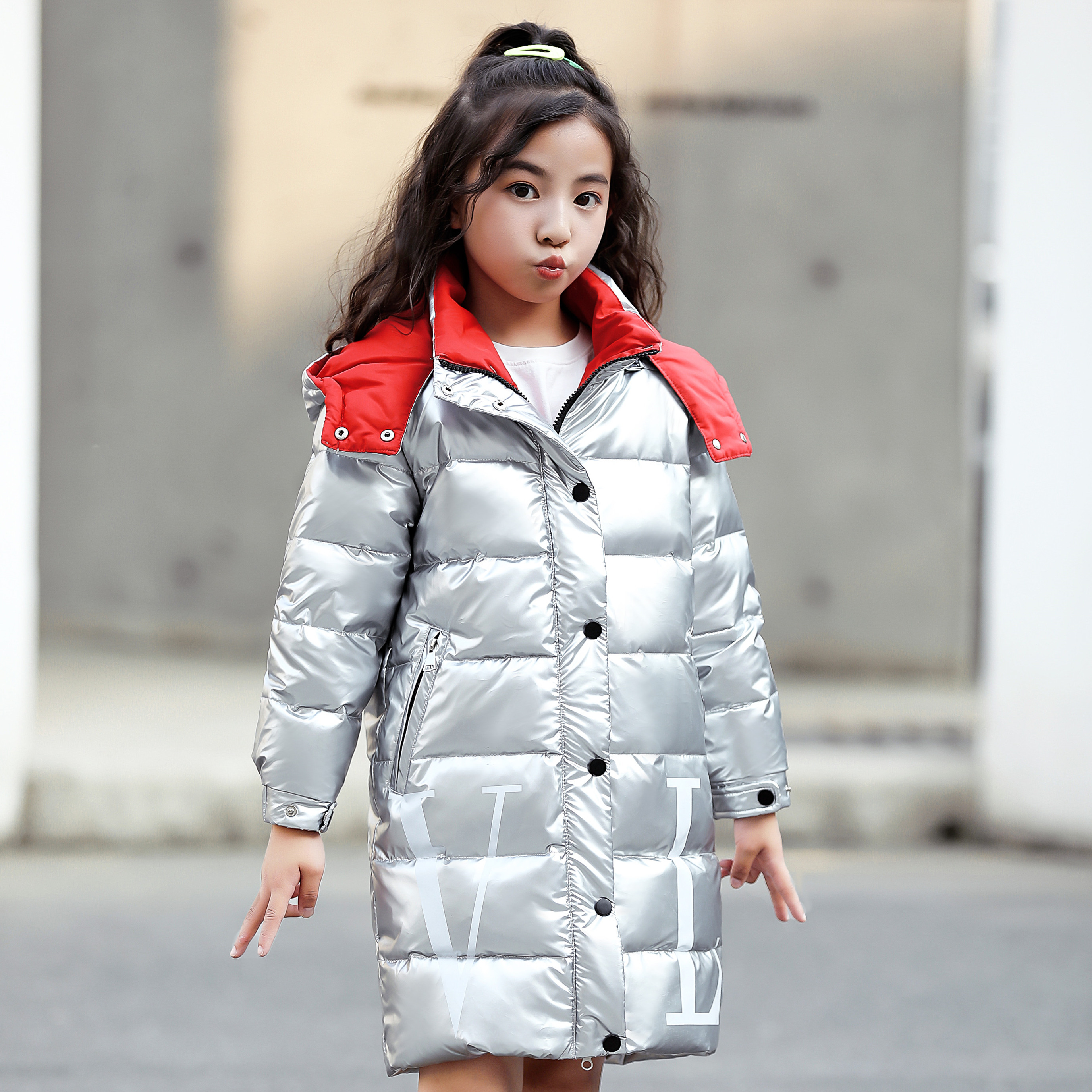 Image 2 - 2019 Children Winter Warm White duck down jackets Girls clothing waterproof Clothes Hooded long  30 degrees Coats For Kids parka-in Down & Parkas from Mother & Kids