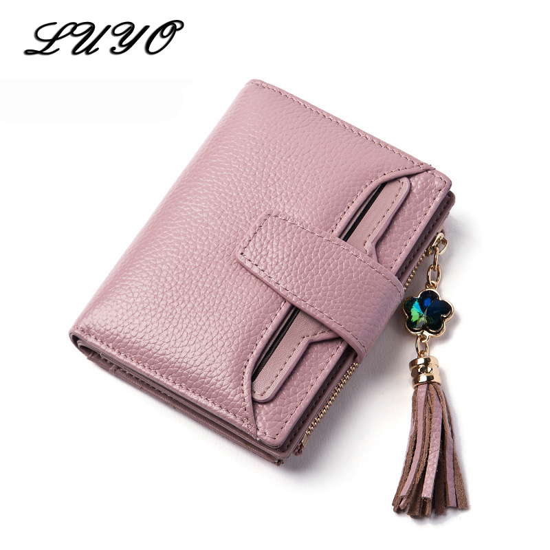 Luyo New Arrival Real Genuine Leather Tassel Short Wallet Female Women Purse Money Three Fracture Small
