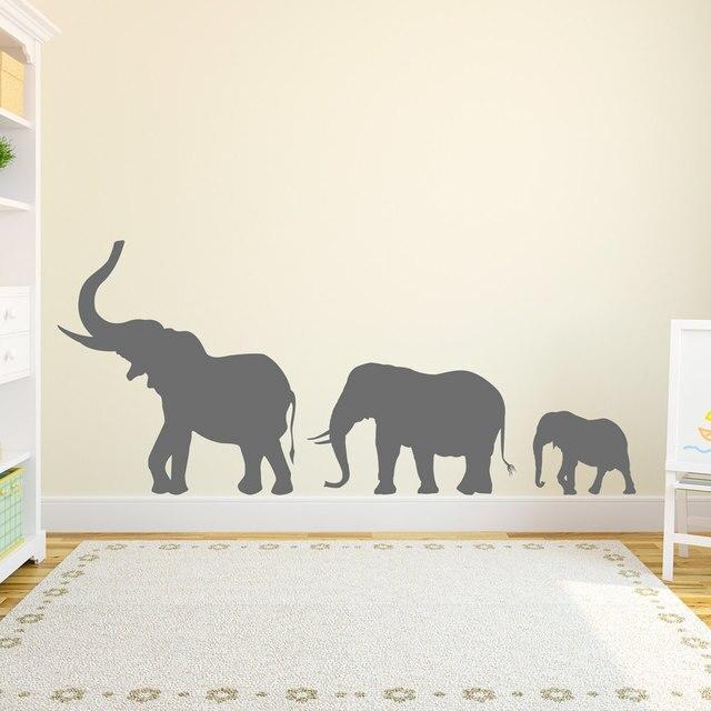 Marching Elephants Family Wall Decal Vinyl Art Sticker Nursery Zoo ...
