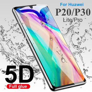 5D Tempered glass on the for huawei P20 pro lite glass on for huawei p30 lite light pro full cover 20lite 30lite 20pro 30pro 9H(China)