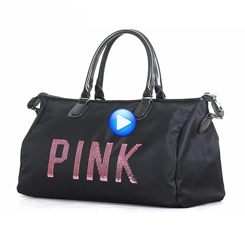 Female Yoga Duffel Bag Metal Sequins PINK Letters Gym Fitness Sports Bag Shoulder Bag Fo ...