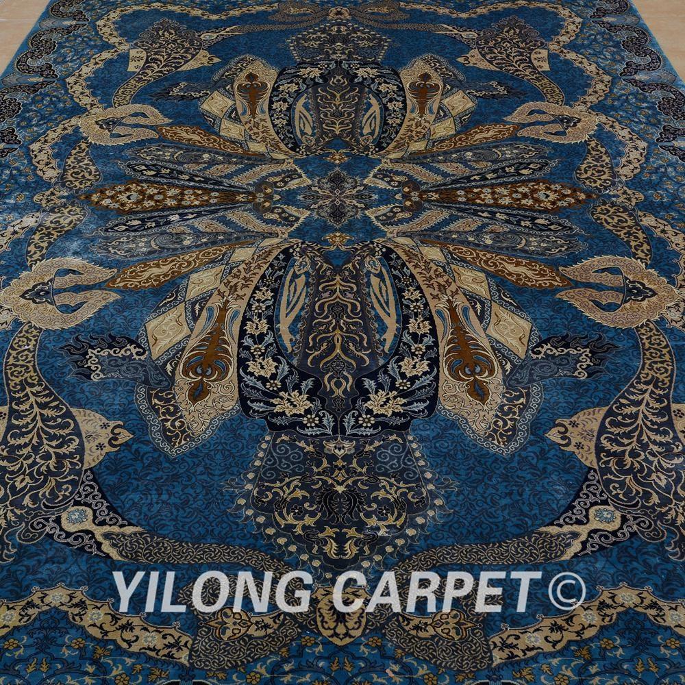 Yilong 6.56'x9.84 'hurtownia orientalny dywan niebieski iran qum - Tekstylia do domu - Zdjęcie 4