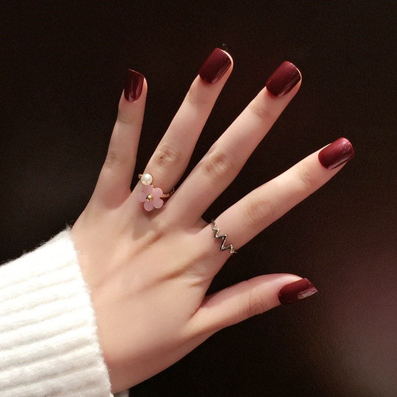 Halloween Nail Art Designs Without Nail Salon Prices: Acrylic Fake Nails Wine Red Medium Square False Nail Art