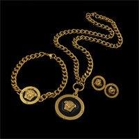 Frete grátis lida hoje NJ Esmalte Preto Cabeça Redonda com Pingentes Homens Dubai Conjuntos de Jóias colar, pulseira, brincos de metal