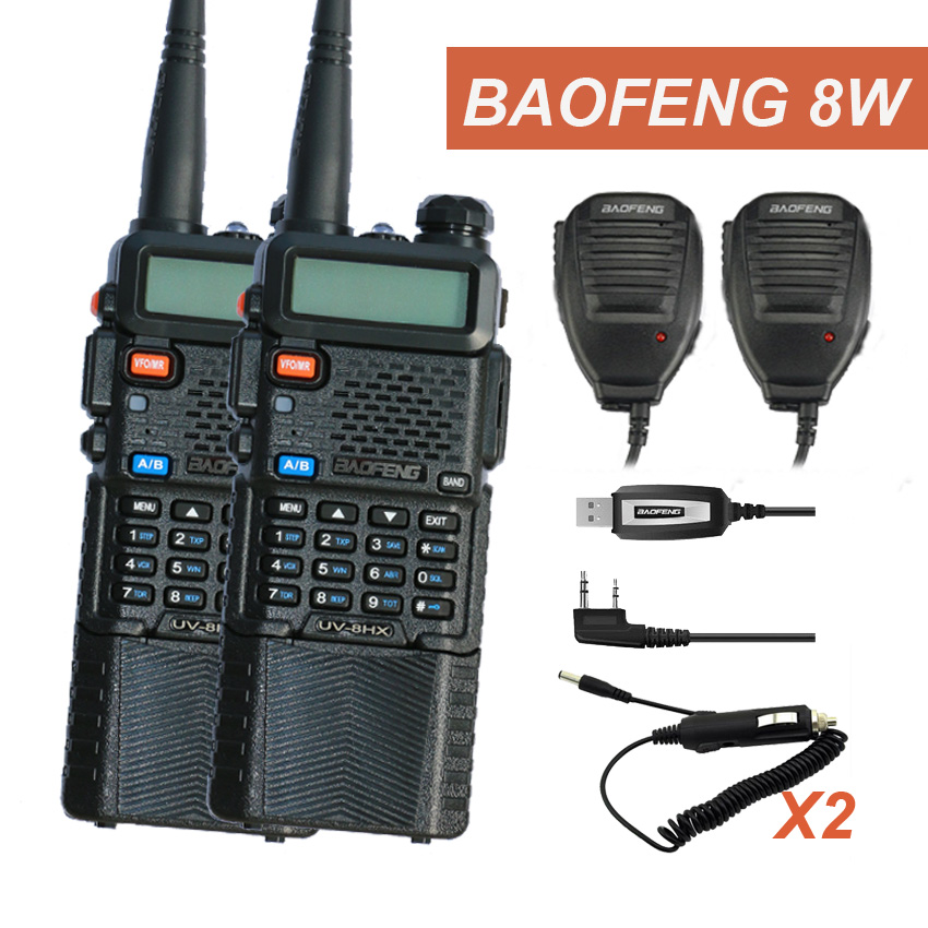 Talkie Walkie 2 PCS UV-5R BAOFENG UV-8HX 3800 mAh Batterie Bibande VHF UHF Fréquence UV5R Amateur Portable Radio PTT UV-5RE