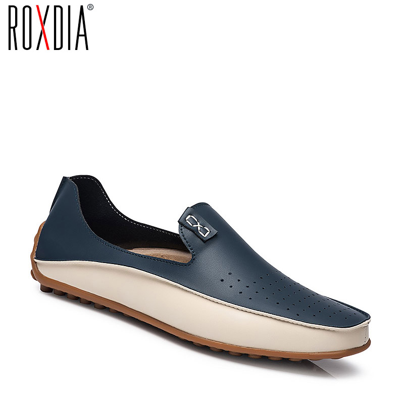 ROXDIA Genuine Leather Men Loafers Spring Summer Causal Shoes Moccasins Men Driving Shoes Man Flats Plus Size 39-47 RXM010