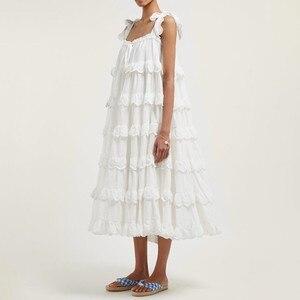 Image 3 - CHICEVER Elegant Patchwork Ruffles White Dress For Women Off Shoulder Sleeveless Oversized  Dresses Female Fashion Clothes 2020
