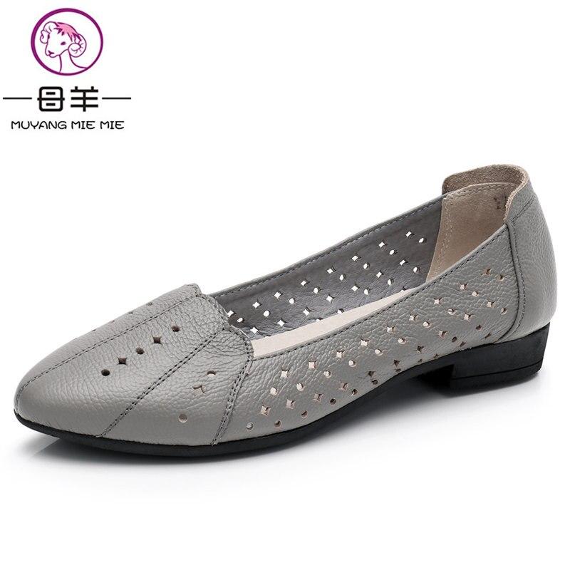 MUYANG MIE MIE Big Size 35-43 Donne di Estate scarpe Donna Sandali Piatti di Cuoio Genuino Sandali Respirabili Casuali Delle Donne sandali