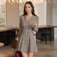 Elegant V Neck Double Breasted Sexy Work Dresses Women Plaid A line Slim Waist Office Ladies Dress Bodycon Vestidos Mujer