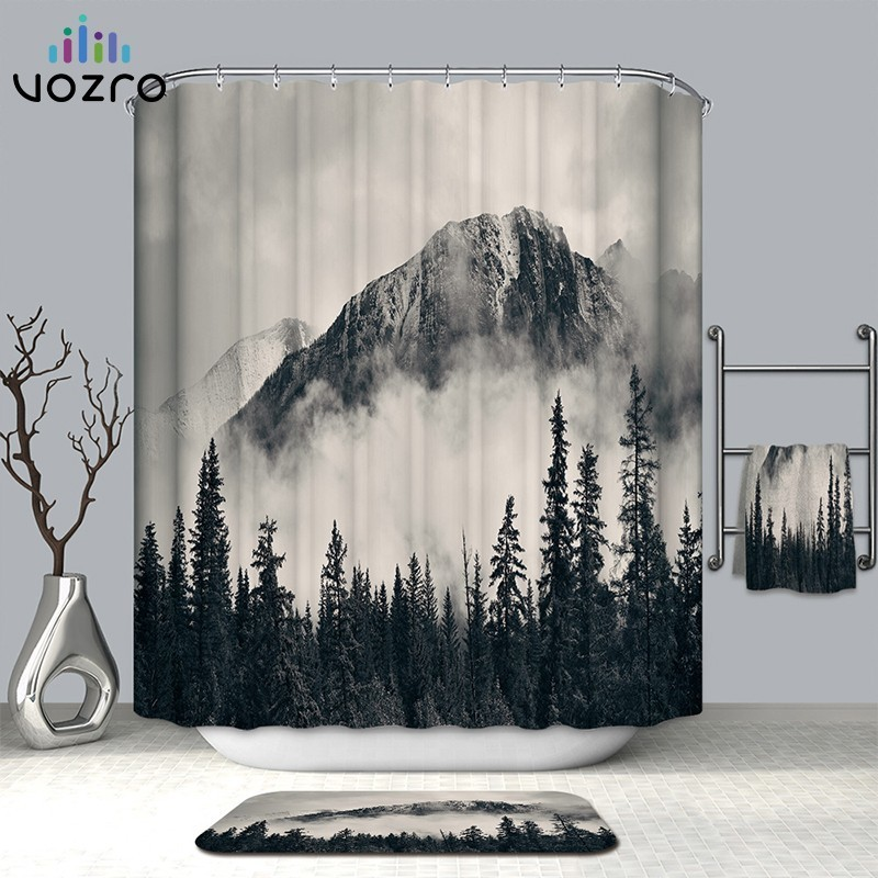 VOZRO Shower Curtain Quality Natural Waterproof Polyester Bathroom 2 M Cloth 3D Fcollege Dormr Simple Bape Douchegordijn Pascoa-in Shower Curtains from Home & Garden