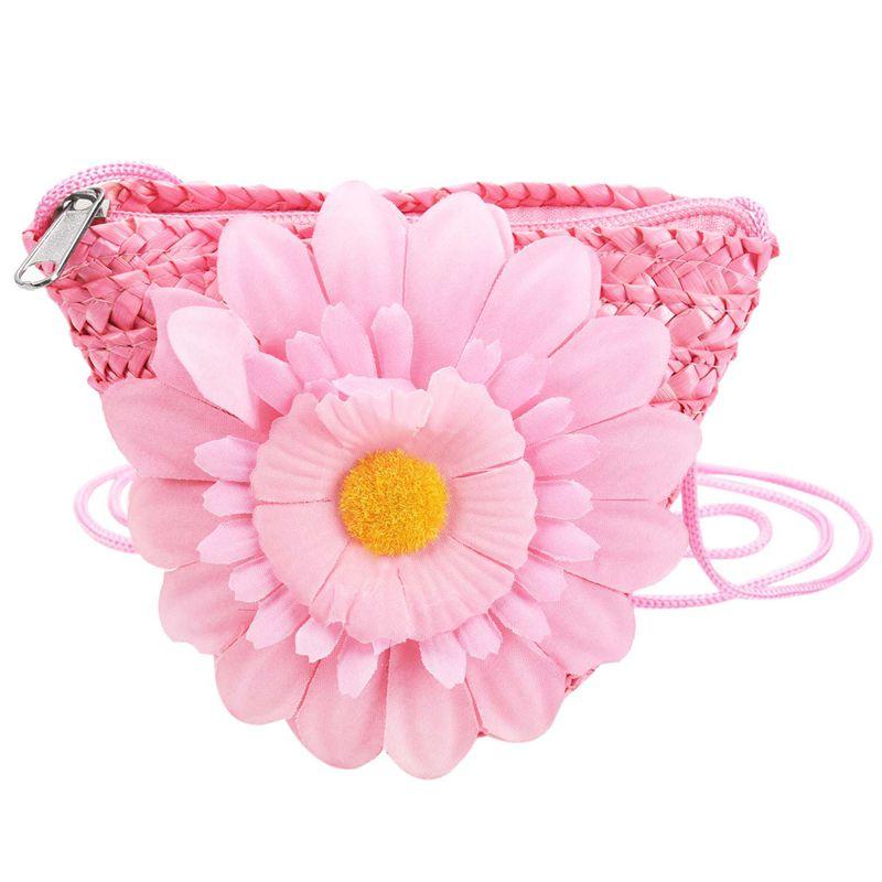 Mini Sunflower Tote Handbag Clutch Purse Single Shoulder Beach Straw grass Bag(Pink)Mini Sunflower Tote Handbag Clutch Purse Single Shoulder Beach Straw grass Bag(Pink)