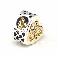 14K Real Gold Beads Fits Pandoral Bracelets Diy Authentic 925 Sterling Silver Charm Beads For Jewelry