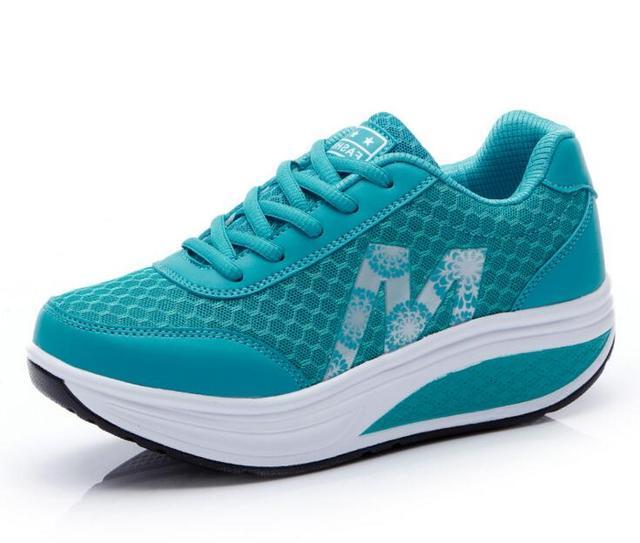 Горячая Продажа Женская Обувь Повседневная Клин Обувь Женщина Платформы Женщин Повседневная Обувь Фитнес Zapatos Mujer Синий 2017 Chaussure Femme