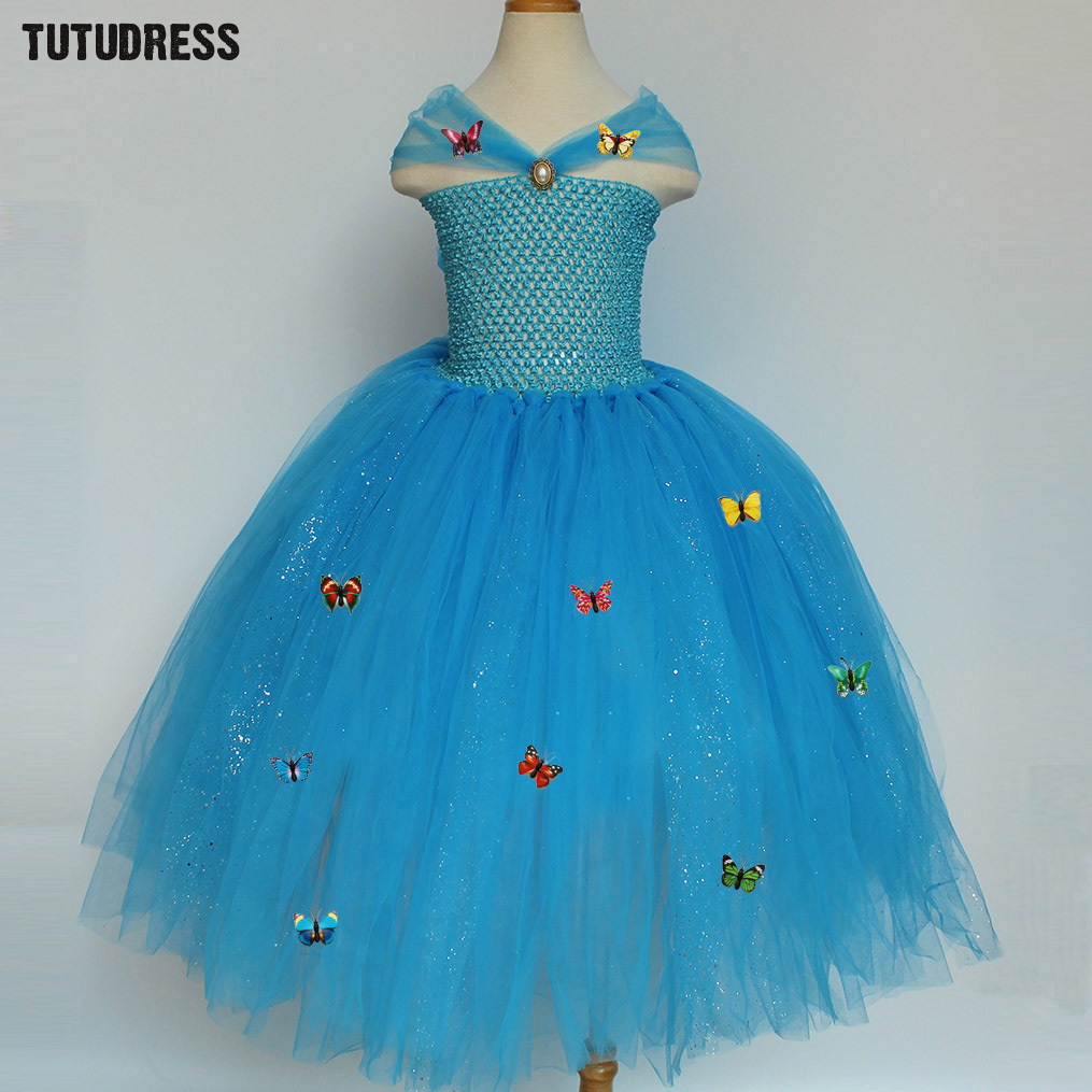 Blue Girl Cinderella Dress Sequins Tulle Princess Butterfly Tutu Dress Kids Party Birthday Halloween Cosplay Cinderella Costumes