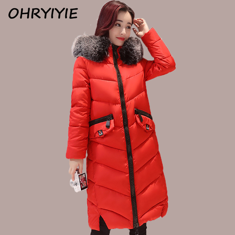 OHRYIYIE Winter Jacket Women 2017 Winter Coat X-long Women's Long Parkas Hooded Cotton Padded Jackets And Coats Manteau Femme ohryiyie women s thick warm long winter jacket women parkas faux fur collar hooded coat cotton padded winter coat manteau femme