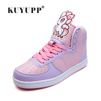 Sweet Cartoon Animation Ladies Shoes 2016 Autumn Newest High Top Skate Shoes Superstar Women Luxury Brand