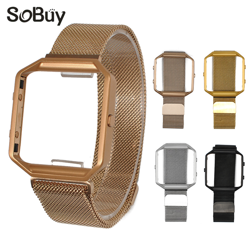 IDG for fitbit blaze watch band frame Milanese box magnetic strap protection case wrist strap stainless steel bracelet bands carlywet 23mm black 316l stainless steel replacement watch strap belt bracelet with case metal frame for fitbit blaze 23 watch
