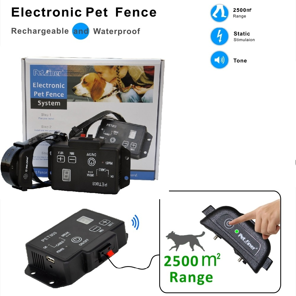 Best buy ) }}Newest type Petrainer PET803 Waterproof Rechargeable Electric Pet Fence Dog Training Collar