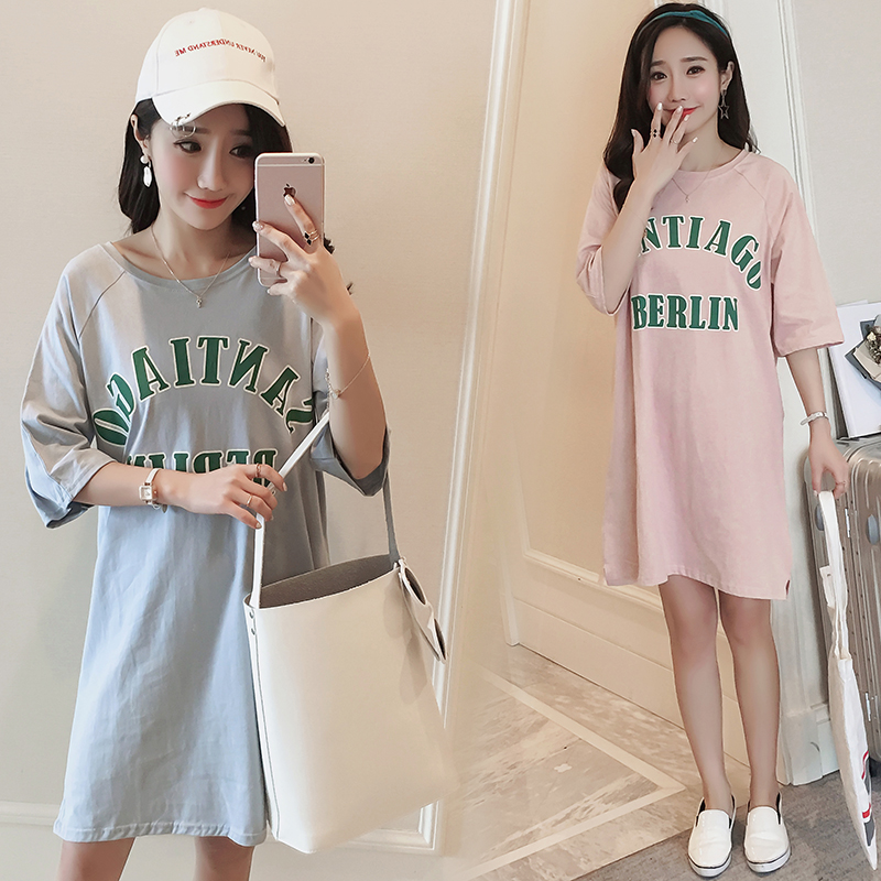 319 New t shirt maternity summer wear Korean style cotton pregnancy tops loose plus size long tees clothes for pregnant women цены