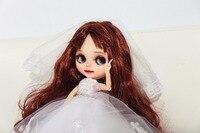 Изготовление на заказ кукла DIY Блит кукла для подарок на день рождения свадьба юбилей подарок свадебное платье BJD кукла с яркой кожей с ямочк