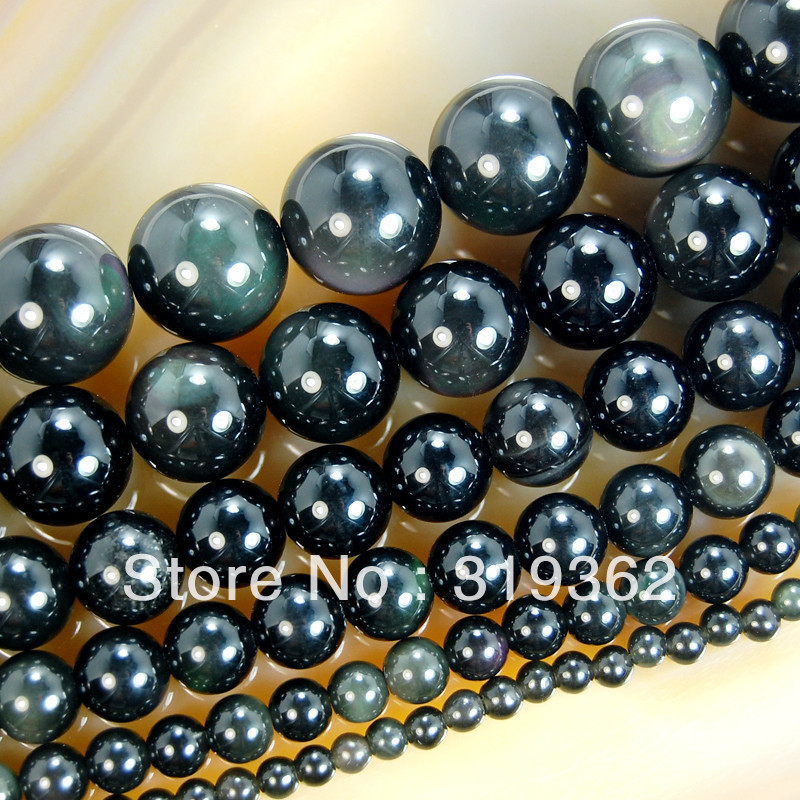 15.5natural Black Obsidian Round Loose Spacer Beads 4,6,8,10,12,14mm For Jewelry Making Diy Bracelet Necklace Free Shipping Jewelry & Accessories