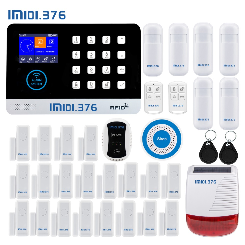 LM101.376 WIFI GSM Home Security Alarm System With 2.4 inch TFT Touch Panel APP Control RFID Card Wireless Smart Home Burglar