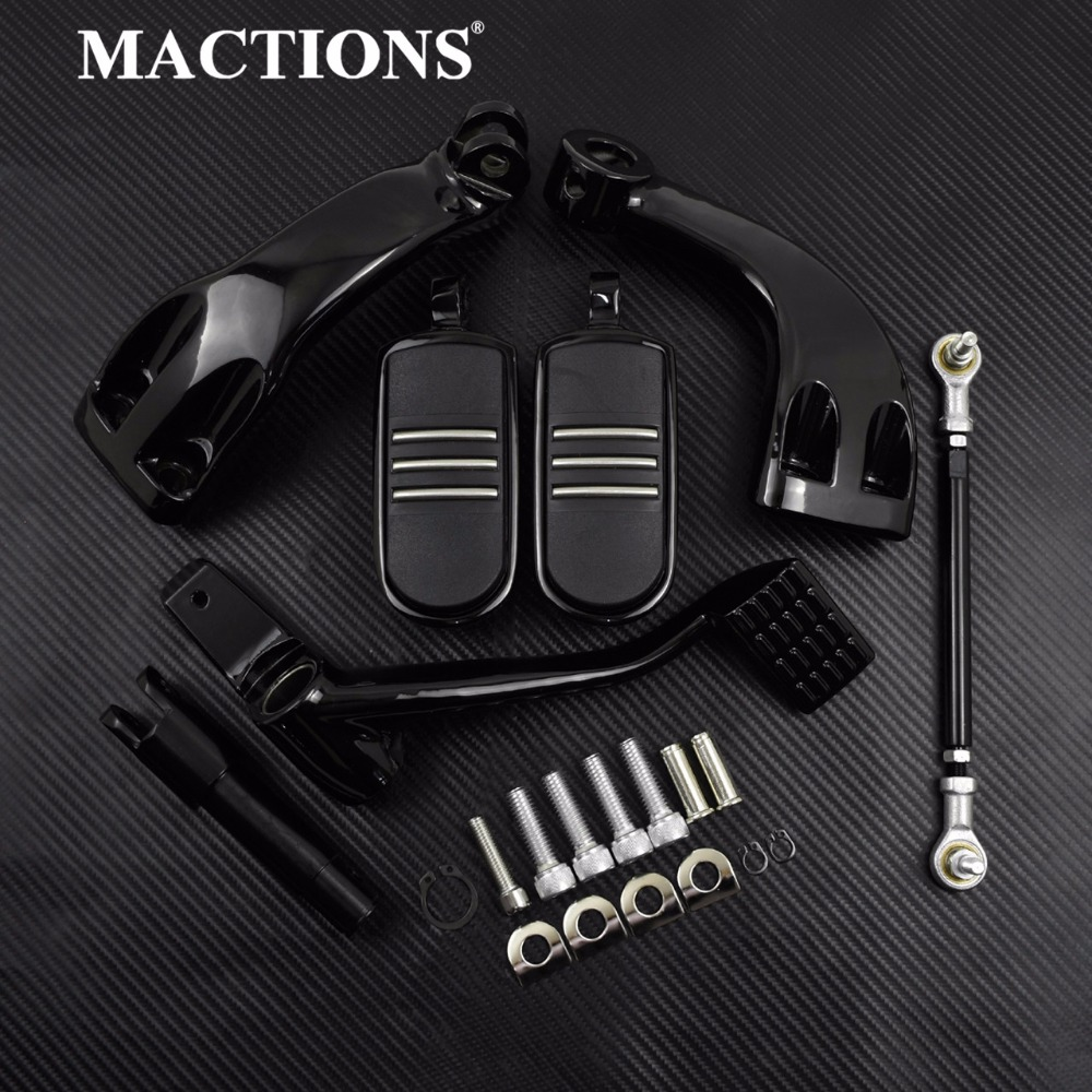 Motorcycle Black Forward Mid Control FootPeg Foot Rests Kit For Harley Sportster XL Iron Forty Eight SuperLow 883 1200 2014-2019