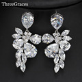 New Arrival Luxury Marquise Shape Cubic Zirconia Simulated Diamond Bridal Big Exaggerated Wedding Earrings For Women ER039