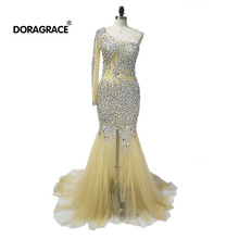 Doragrace Gorgeous Illusion Tulle One Shoulder Crystal Beaded Evening Dresses Mermaid Gowns