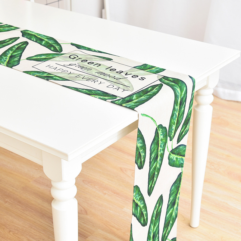 Fresh Style Leaf Rural Garden Series Thick Cotton Linen Art Table Flag Covers Tea Coffee TV Cabinet Cloth Runner