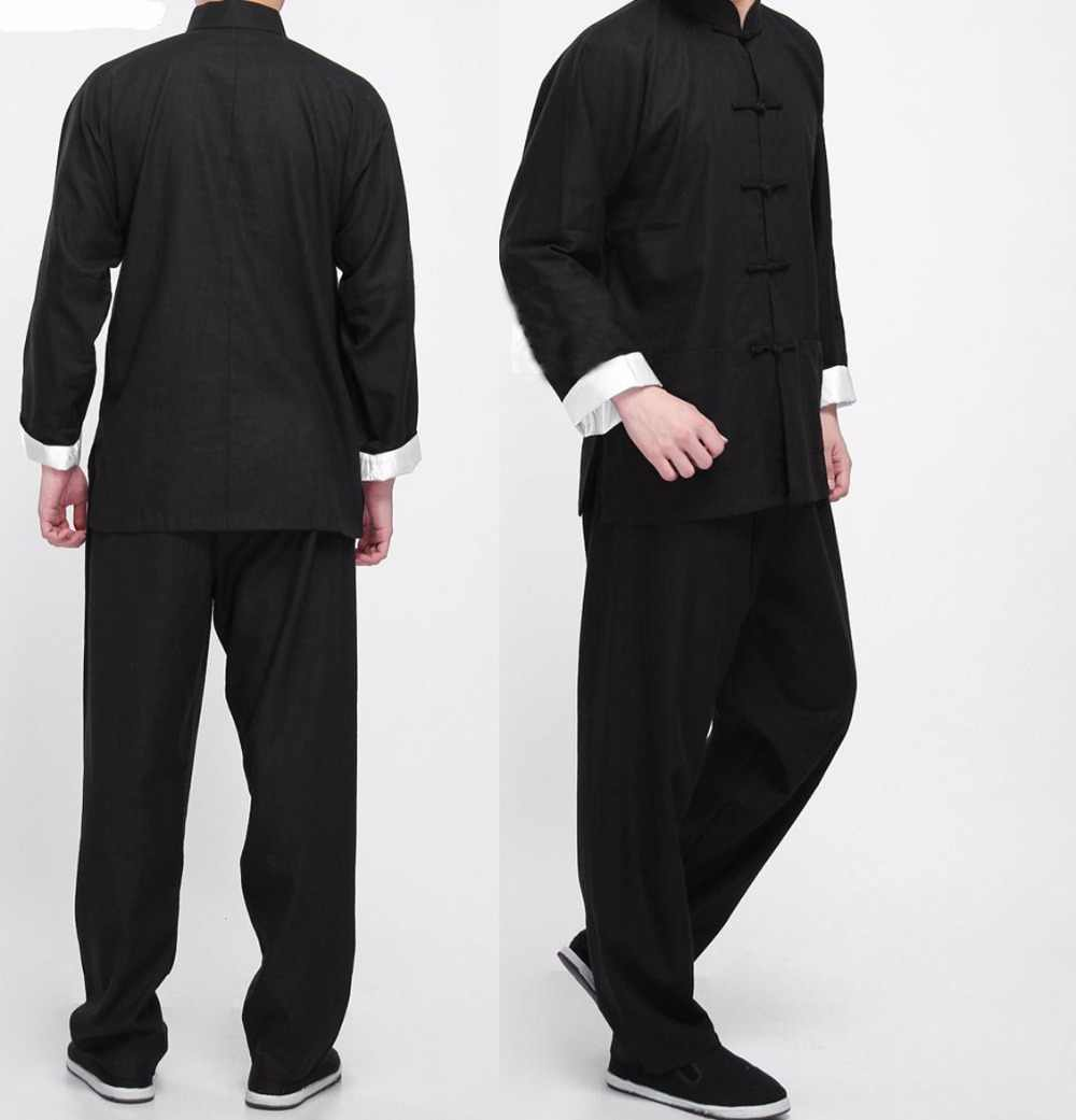 Bruce Lee Vintage Chinese Wing Chun Kung Fu Uniform Vechtsport Tai Chi Past Klassieke Katoenen Jas + Broek