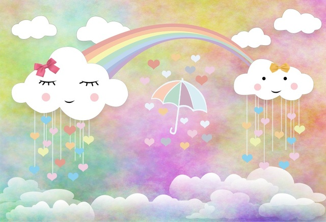 Laeacco Baby Newborn Cartoon Cloud Rain Drops Rainbow Photography Backgrounds Customized Photographic Backdrops For Photo Studio