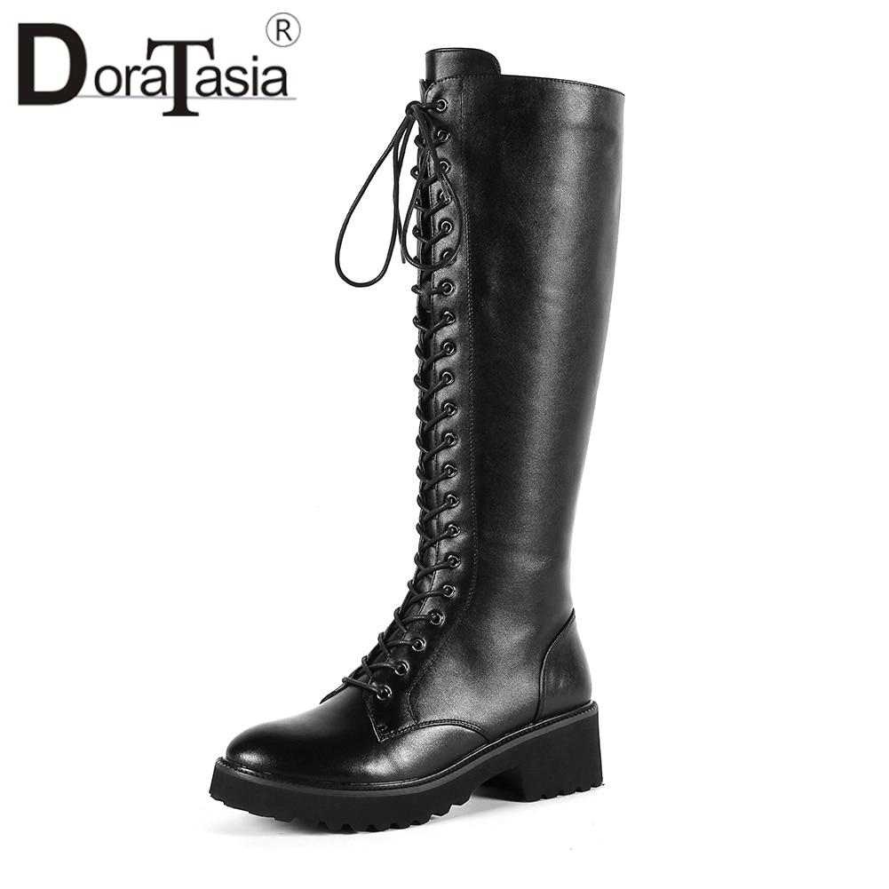 Здесь можно купить  DORATASIA 2019 Autumn Girl Black Platform Knee High Boots Women Genuine Leather lace-up Riding Boots Med Heels Shoes Woman 34-43  Обувь