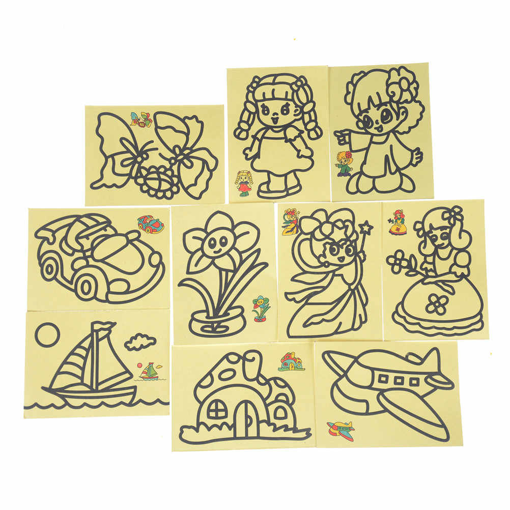 New 10pcs/lot Cute Colorful Children Kids Drawing Toys Sand Painting Pictures Kid DIY Crafts Education Toy for boys and girls