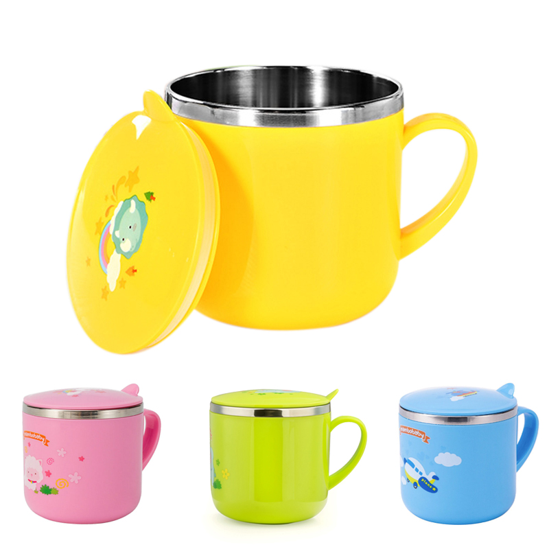 Baby Training Cup Stainless Steel Mugs For Kids Feeding Cup Infant Drinking Cup Water Bottle With Lid Kids Cup 300ml