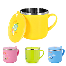 Baby training cup Stainless steel mugs for kids feeding infant drinking water bottle with lid Kids 300ml