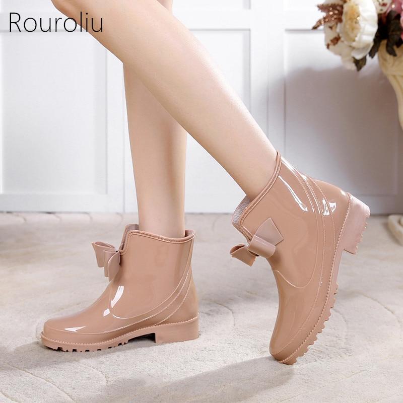 Rouroliu Bowtie Ankle Rain Boots Women Flat Heels Non-slip Glossy Rainboots Waterproof PVC Woman Water Shoes Wellies TS119